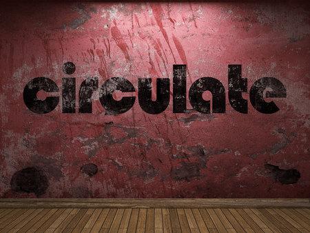 circulate: circulate word on red wall