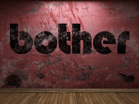 bother: bother word on red wall Stock Photo