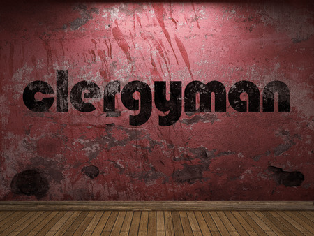 clergyman: clergyman word on red wall