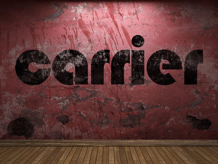 the carrier: carrier word on red wall