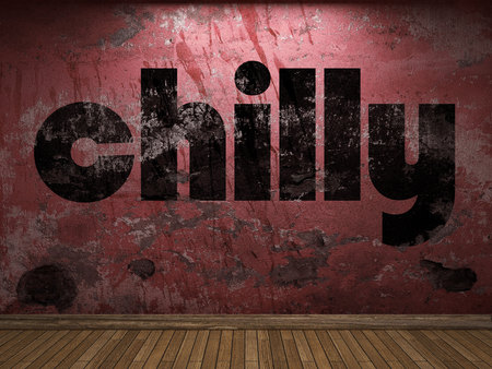chilly: chilly word on red wall