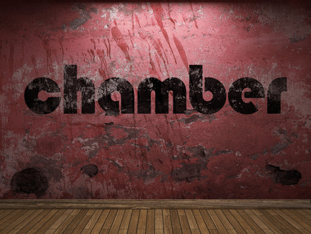 chamber: chamber word on red wall