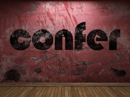 confer: confer word on red wall
