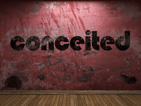 conceited: conceited word on red wall