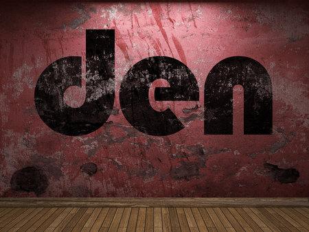 den: den word on red wall
