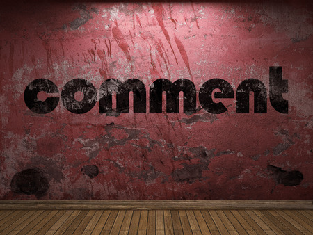 comment: comment word on red wall
