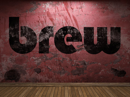 brew: brew word on red wall