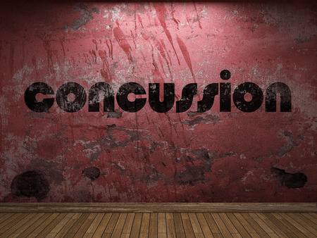 concussion: concussion word on red wall