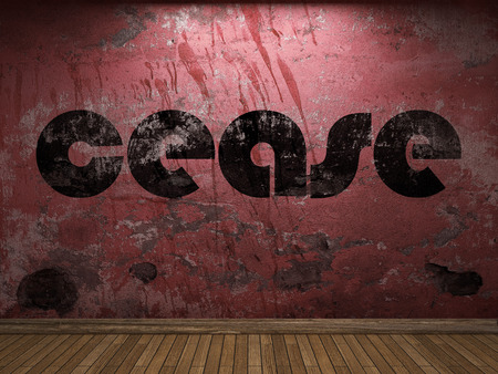 cease: cease word on red wall Stock Photo