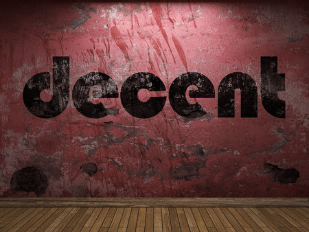decent: decent word on red wall