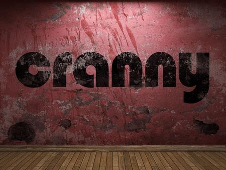 cranny: cranny word on red wall Stock Photo