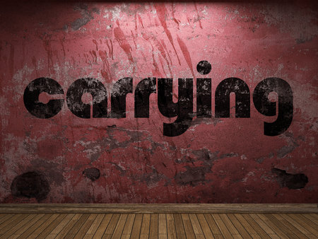 carrying: carrying word on red wall
