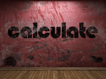 calculate: calculate word on red wall