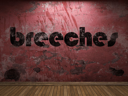 breeches: breeches word on red wall Stock Photo