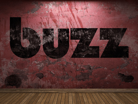 buzz word on red wall