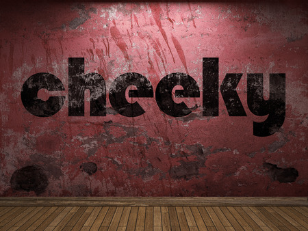 cheeky: cheeky word on red wall Stock Photo