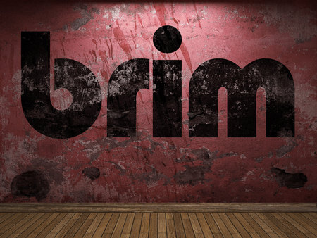 brim: brim word on red wall