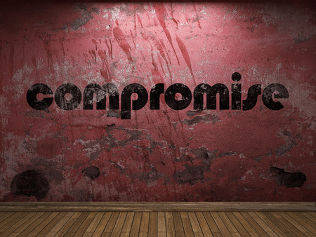compromise: compromise word on red wall