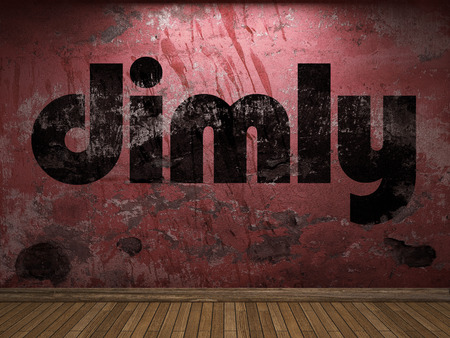 dimly: dimly word on red wall