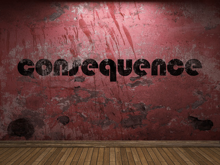 consequence: consequence word on red wall Stock Photo