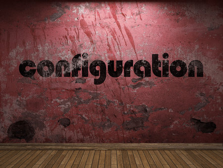 configuration: configuration word on red wall Stock Photo