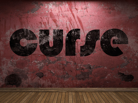 curse: curse word on red wall Stock Photo