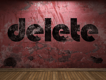 delete: delete word on red wall