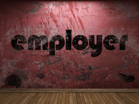 employer: employer word on red wall