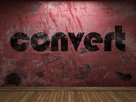 convert: convert word on red wall