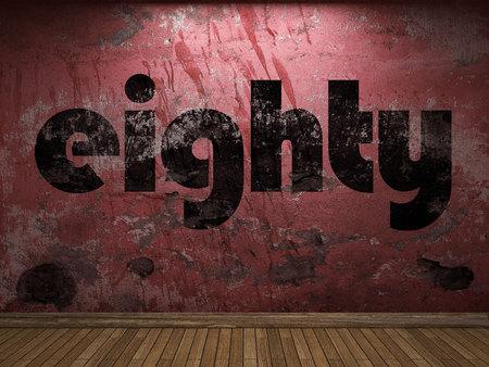eighty: eighty word on red wall Stock Photo