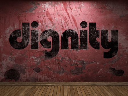 dignity: dignity word on red wall