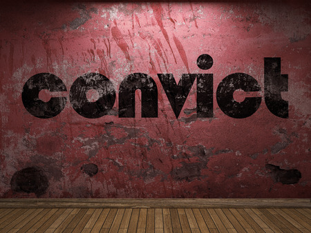 convict: convict word on red wall Stock Photo