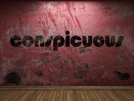 conspicuous: conspicuous word on red wall Stock Photo