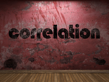 correlation: correlation word on red wall
