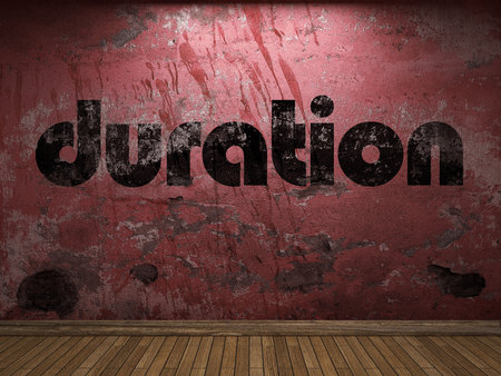 Duration: duration word on red wall Stock Photo