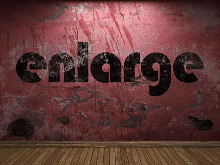 enlarge: enlarge word on red wall