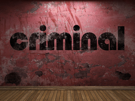 criminal: criminal word on red wall Stock Photo
