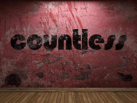 countless: countless word on red wall Stock Photo