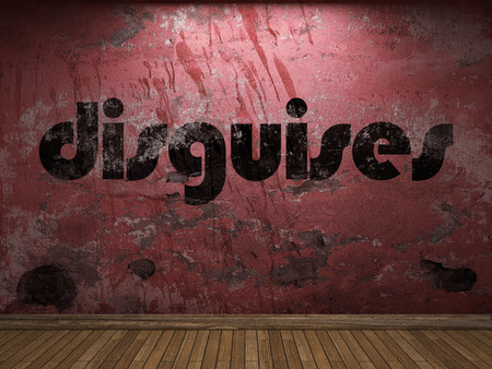 disguises: disguises word on red wall