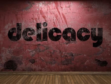 manjar: palabra delicadeza en la pared roja