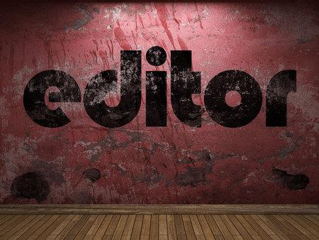 editor: editor word on red wall