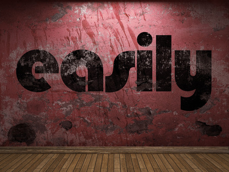 easily: easily word on red wall