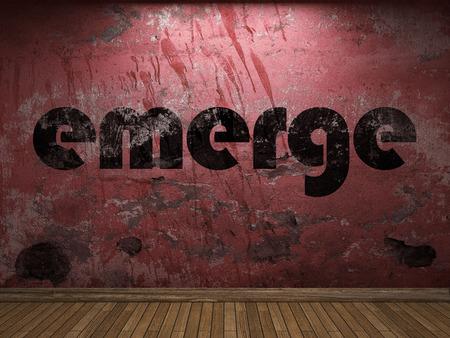 emerge: emerge word on red wall Stock Photo