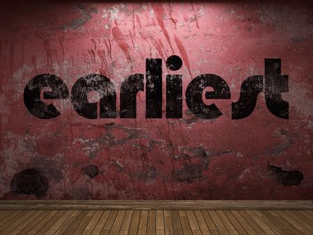 earliest: earliest word on red wall Stock Photo