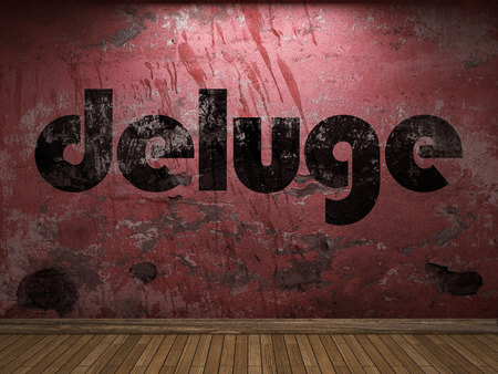 deluge: deluge word on red wall Stock Photo