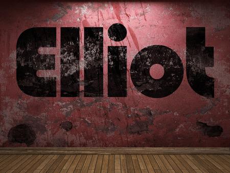elliot: Elliot word on red wall
