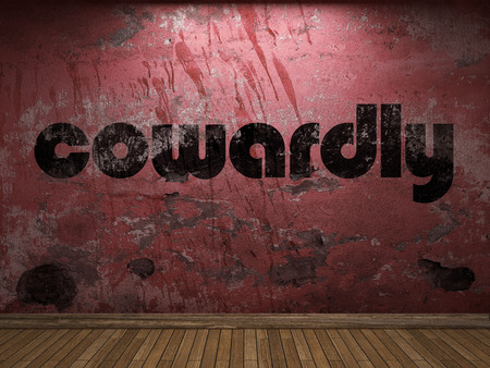 cowardly: cowardly word on red wall Stock Photo
