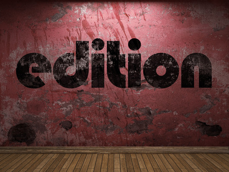 edition: edition word on red wall Stock Photo