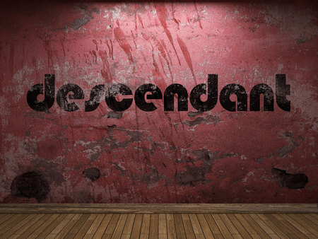 the descendant: descendant word on red wall Stock Photo