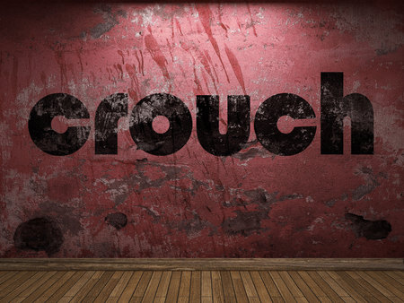 crouch: crouch word on red wall Stock Photo